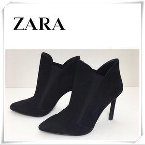 Zara Faux Suede Black Ankle Bootie Heel